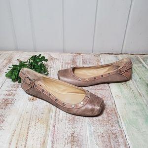 Gianni Binni leather Pink Beige Buckle Flat shoes